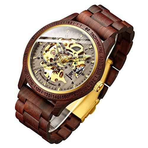 Men's Watches Luxury Mechanical Wooden Case Skeleton Luminous Automatic Self-Winding Lightweight Genuine Leather Bracelet/Wood Band Wrist Watch