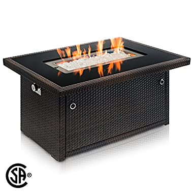 Outland Fire Table, Aluminum Frame Propane Fire Pit Table with Black Tempered Glass Tabletop Resin Wicker Panels & Arctic Ice Glass Rocks, Auto-ignition (Rectangle 35,000 BTU, Espresso Brown)