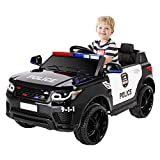 BAHOM Kids Ride On Police Car Toys 12V Battery Powered Electric Vehicle with 2.4G Remote, Real Megaphone Siren Flashing Light Horn (Black)