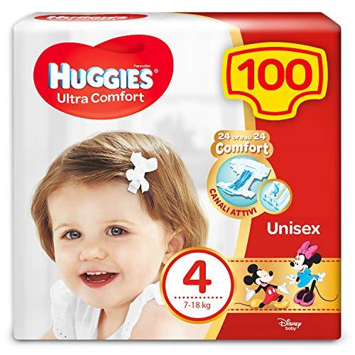 Huggies Huggies Ultra Comfort Windeln, Größe 4 (7-18 kg), 100 Windeln - 3120 g