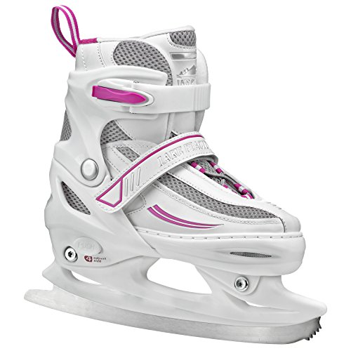 Lake Placid Summit Girls Adjustable Ice Skate, White/Purple, Small Junior/10-13