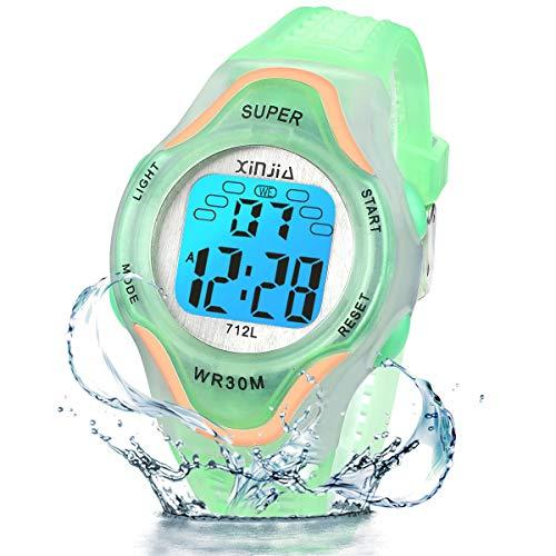 Kinder Digitaluhren, 7 Farben LED-Licht Kinder Sport Armbanduhr Jungen Wasserdicht Kinderuhr mit Alarm Stoppuhr, Kinderuhren Outdoor Armbanduhr für Jungen Mädchen (712L Roségold Grün)