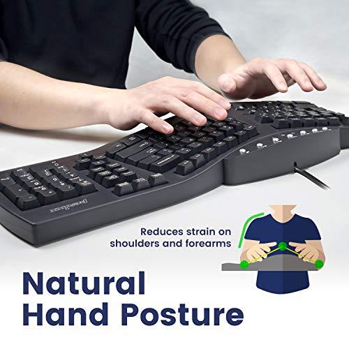 "Perixx Periboard-512 Ergonomic Split Keyboard - Natural Ergonomic Design - Black - Bulky Size 19.09""x9.29""x1.73"", US English Layout (11525)"