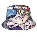 Hangdachang encantador color seta impresión para hombre mujer ocio sombrero de pescador cubo tapa plegable Sun Cap negro