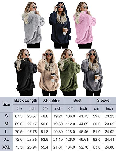 iWoo Womens Sweatshirts Warm Teddy Fleece Jumper Loose Fuzzy Hoodies Outwear Cotton Pullovers for Women Stylish(Dark Gray,XL)