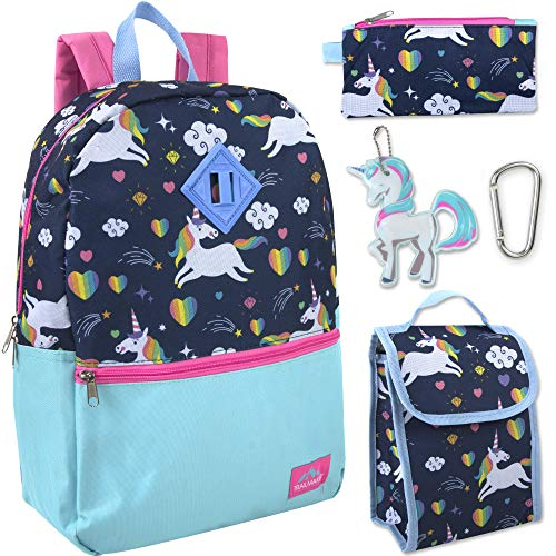 Trail maker 5 in 1 Full Size Character School Backpack and Lunch Bag Set For Girls (Unicorn Ice Cream)