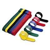 VCZHS 50 PCS Reusable Fastening Cable Ties, Microfiber Cloth 6-Inch Hook and Loop Cord Ties for Tablet Laptop PC TV Home Office Electronics Wire -5 Colors