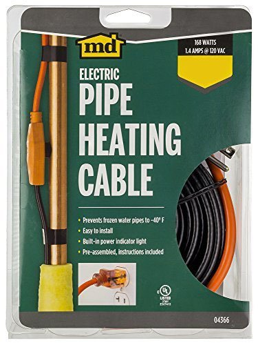 M-D Building Products 64428 Md Pipe Heating Cable With Thermostat, 18 Ft, Red, -50 Deg F