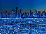 Diy 5D Pintura De Diamante Por Kits De Números La Ciudad Y Diamantes De Imitación De Cristal De Hielo Azul Para Decoración De Pared Del Hogar Taladro Completo 30*40 Cm