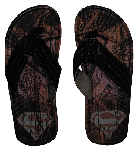 DC Comics Superman Logo Tattoo Superhero Flip Flop Sandals | M