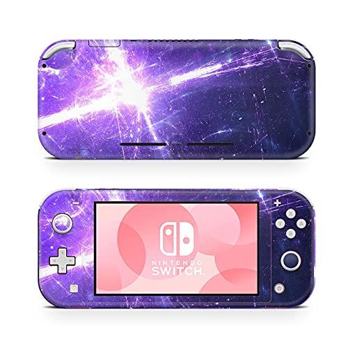 46 North Design Switch Lite Skin Vinyl Stickers, Nave espacial Galaxia Púrpura Oscuro Rayo Estrella Meteoro Cosmos Universo Espacio, Alta calidad, Durable, Sin burbujas, Made in Canada