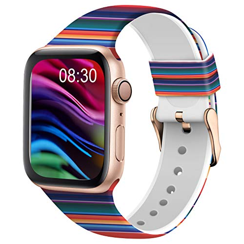 TSAAGAN Silicone Pattern Printed Band Compatible for Apple Watch Band 38mm 42mm 40mm 44mm, Floral Soft Sport Replacement Strap Wristband for iWatch Series 6/5/4/3/2/1 (Rainbow, 38mm/40mm)