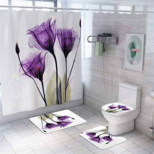Enhome Juego de 4 Piezas de Alfombra de baño Antideslizante + Tapa de Inodoro + Alfombrilla de baño + Cortina de Ducha, Estampado Floral (Loto)