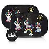 iZoeL Parasol Coche bebé con protección UV 8 ventosas Unicornio