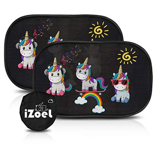 iZoeL Parasole Auto per Bambini, 2 Pezzi Parabrezza Finestrino Laterale, Motivo Unicorno, Autoadesivo, 8 Ventose, Custodia, 51 x 31 cm, Universale Protezione Solare E UV