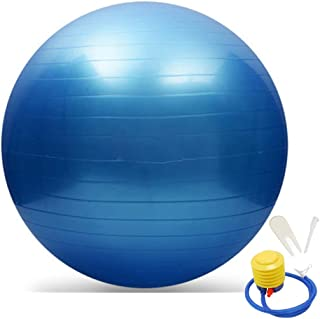 Emiqude Exercise Yoga Ball, Fitness, Stability, Balance, Anti-Burst Heavy Duty Pilates Ball with Foot Air Pump