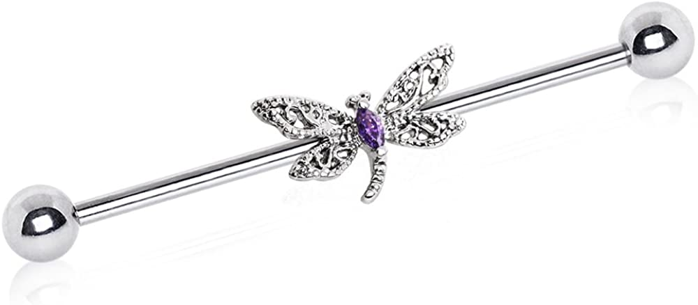 14GA 316L Stainless Steel Ornate Crystal Dragonfly Industrial Barbell