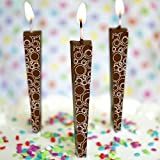 Let Them Eat Candles Premium Chocolate Birthday Candles, Edible Cake Topper, Non-Melting, Milk Chocolate, Circle Swirls, Pack of 3