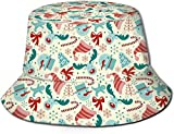 Christmas Elements Elk Christmas Hat NRENRE Unisex Outdoor Travel Sun Bucket Hat Gorra de Pescador de Verano