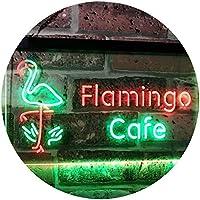 Flamingo Café Kitchen Dual Color LED看板 ネオンプレート サイン 標識 緑色 + 赤色 600 x 400mm st6s64-i2828-gr