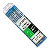 ELCAN Tungstenos soldadura TIG Puro Verde WP profesional, electrodos soldadura para torcha TIG de 1,0 1,6 2,0 2,4 3,2 mm, 10 unidades - Dimensiones: 3,2 x 175 mm