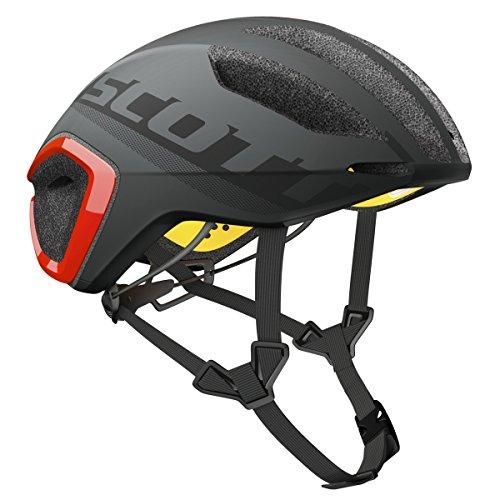 Scott Cadence Plus Triathlon Casco Bicicleta de Carreras Gris/Rojo 2017, Primavera/Verano, Hombre, Color Dark Grey/Red, tamaño M (55-59 cm)