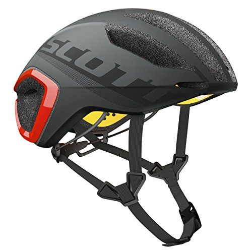 Scott Cadence Plus Triathlon Casco Bicicleta de Carreras Gris/Rojo 2017, Primavera/Verano, Hombre, Color Dark Grey/Red, tamaño M (55-59 cm)