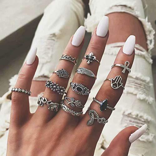 Simsly Vintage Flower Knuckler Ring Silber Snake Joint Knuckle Ring Set für Frauen und Mädchen (14 Stück)