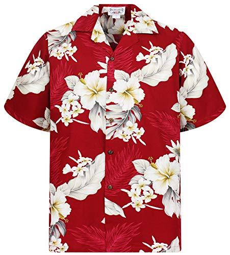 P.L.A. Pacific Legend Original Hawaiihemd, Kurzarm, Enzian, Rot, S