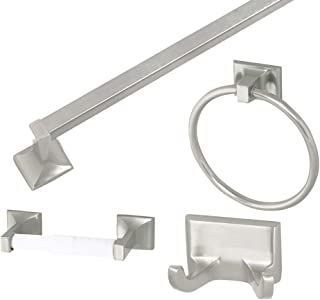 Design House 534644 Millbridge 4-Piece Bathroom Accessory Kit, Satin Nickel Finish