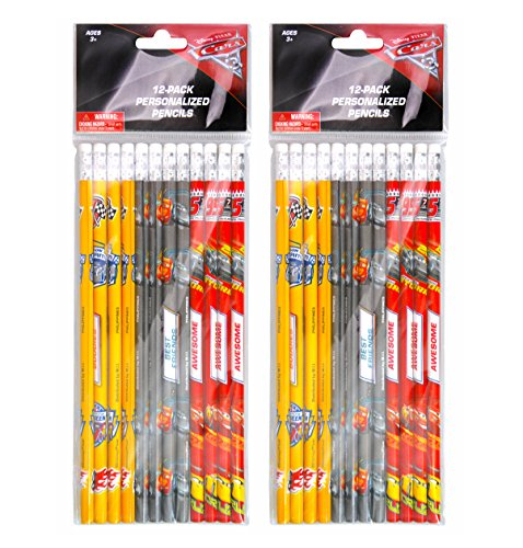 2-PACK, Disney Cars 12 Pack Wood Pencils