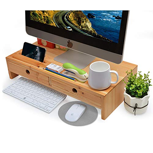 Computer Monitor Stand with Drawers - Wood TV Screen Printer Riser 22.05L 10.60W 4.70H inch, Desk Organizerin Home&Office