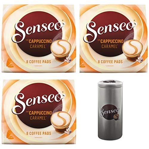 Senseo Kaffeepads Premium Set Cappuccino Caramel / Karamell, 3er Pack, Kaffee mit Karamellgeschmack, je 8 Pads, mit Paddose
