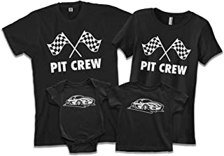 Race Car & Pit Crew   Dad Mom Baby Child Son Daughter Matching Family Shirts Set