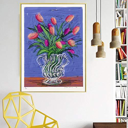 Unbekannt Klassische Tapete David Hockney Blumenvase Leinwand Gemälde Drucken Wohnzimmer -40x50cm Kein Rahmen