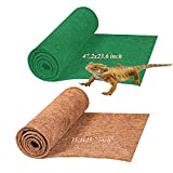 Hamiledyi Reptile Carpet Natural Coconut Fiber Mat Terrarium Bedding Substrate Liner for Tortoise Lizard Snake Bearded Dragon Gecko Chamelon Iguana(2 Pcs)