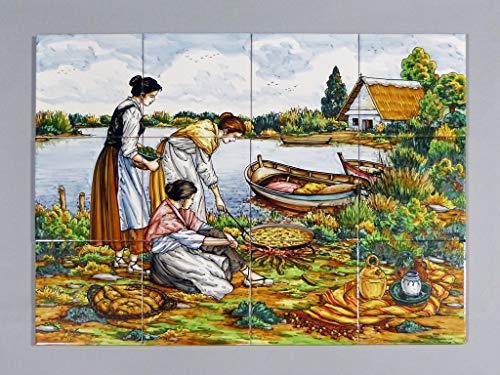 Cuadro de Cerámica «Valencianas Preparando Paella» - Cuadro en Azulejos Cerámicos Hechos y Pintados a Mano - Cuadro Mural Cerámica Artesanal