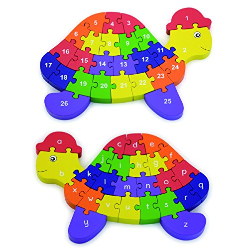 Viga 2-in-1 3D Alphabet & Number Puzzle Turtle Shape Wooden