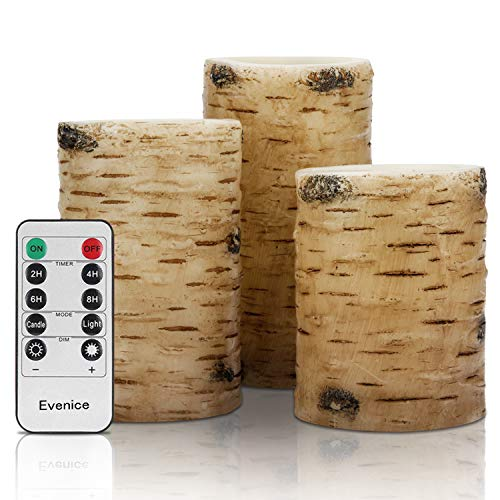 "Flameless Candles Led Candles Birch Bark Wax Battery Candles (D 3"" x H 4""5""6"") with Timer and 10-Key Birch Bark Set of 3"