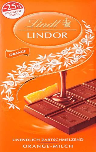 Lindt & Sprüngli Lindor Promotion Tafel, Vollmilch Chocolade mit unendlich zartschmelzender Orangen-Füllung, glutenfrei, 10er Pack (10 x 100 g)