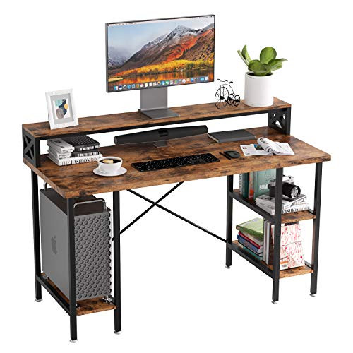 IRONCK Industrial Computer Desk 55', Office Desk with Printer Monitor Shelf...