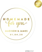 Andaz Press Personalized Round Circle Wedding Favor Gift Labels Stickers, Metallic Gold Ink, Homemade for You, 40-Pack, Custom Made Any Name