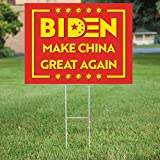 PatriotSigns Biden Make China Great Again Yard Sign – Double Side Printed Anti-Biden Political Garden Sign Board Made from Quality Material with Metal H Stakes for Outdoor Use - 18 x 24 Inches