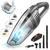 CCJK Handheld Car Vacuum Cleaner with 120W High Power,7000PA USB Portable Auto Rechargeable Vacuum Cordless,Strong Aluminum Fan, HEPA Filter,Carry Bag, Wet/Dry Use for Car Home Hair Office Cleaning