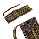 LaaVoo 14' Remy Hair Extensiones de Clip 1 Pieza 70 Gramo Ponytail Marron Oscuro Mezcla...