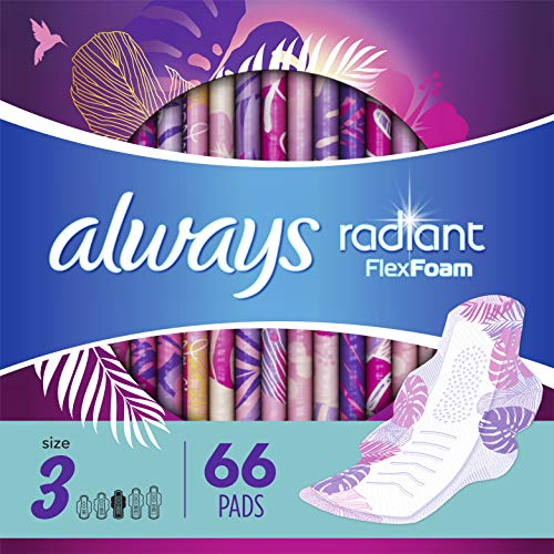 Always Radiant Feminine Pads with Wings for Women, Extra Heavy Overnight, Light Clean Scent, Size 3 (Pack of 66)