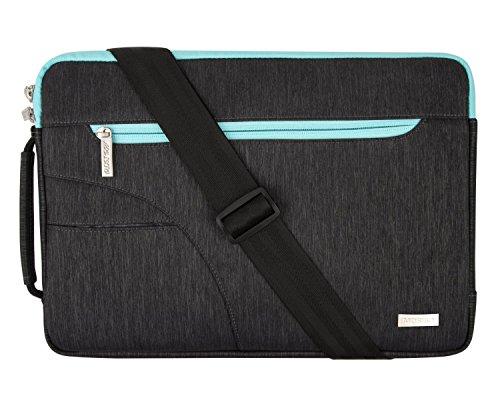 MOSISO Maletin Portatil Compatible con MacBook Pro 15 Pulgadas Touch Bar A1990 A1707/Dell XPS 15/ Surface Laptop, Bolso de Hombro con Bolsillo Frontal en Arco, Azul