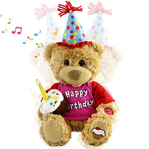 Houwsbaby Happy Birthday Teddy Bear Interactive Animated Stuffed Animal Singing Musical Plush Electric Toy with Cupcake and Glow Candle Gift for Kids Girls Boys Holiday, Brown, 11''