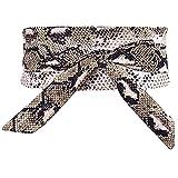 Nanxson Mujer Leopardo/Serpiente Impresión Envolver Obi Pretina Cinturones Cinch PDW0179 (L, Serpiente marrón)