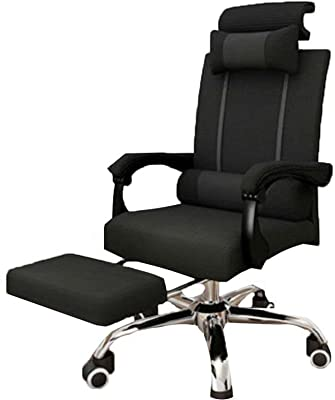 Chair Home Office Comfortable and Sedentary Lazy Desk Chair Computer Swivel Chair Lift Game Seat Reclining Double Headrest with Footrest Chair